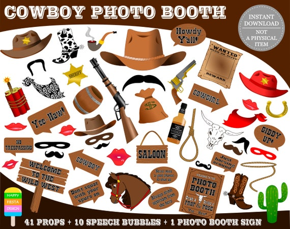 Printable Cowboy Photo Booth Propsphoto Booth Sign Wild West Photo