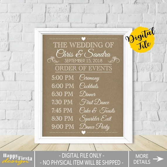 order events sign printable schedule timeline itinerary