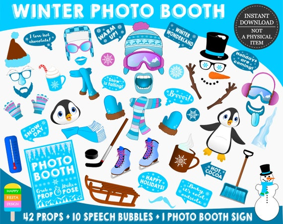 Printable Winter Photo Booth Propswinter Photo Props Winter