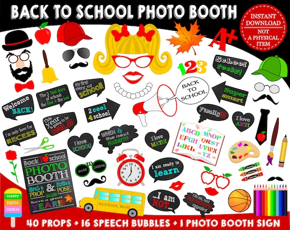 Printable Back To School Photo Booth Props 1st Day Of School School