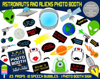 PRINTABLE Astronauts & Aliens Photo Booth Props–Aliens Photo Props-Rocket Man, Outer Space Props-Astronaut Photo Props-Instant Download