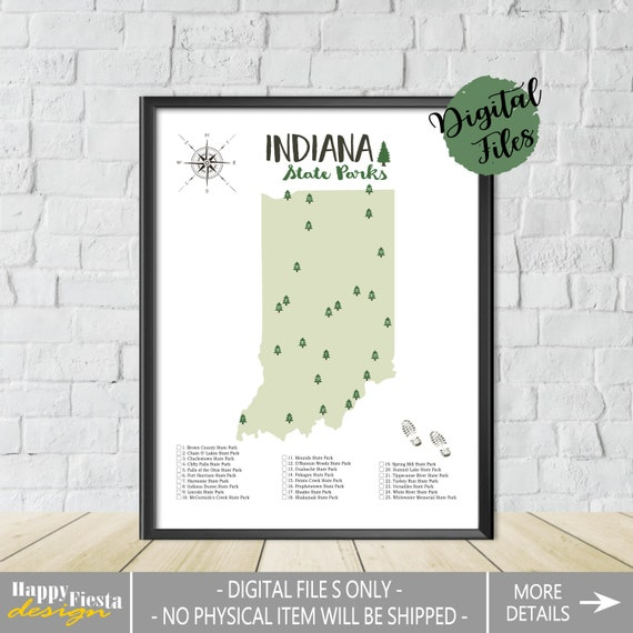 PRINTABLE Indiana State Parks Map-State Parks Of Indiana Map-Indiana Parks  Checklist-Parks Poster-Indiana Print-Hiker Gift-Wall Art Map