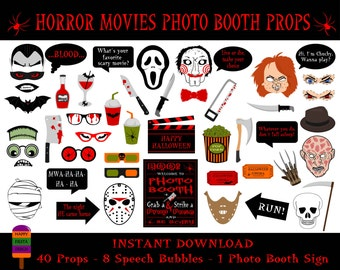 PRINTABLE Horror Movies Photo Booth Props–Halloween Photo Booth Sign-Printable Halloween Props-Halloween Photo Props-PDF-Instant Download