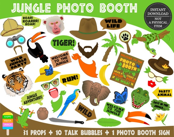 picture about Printable Jungle Animals known as PRINTABLE Jungle Image Booth PropsJungle Props-Jungle Pets Picture Props-Jungle Photograph Props-Jungle Safari-Jungle Pets-Prompt Down load