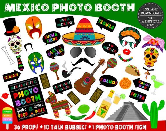 Printable Mexico Photo Booth Props Printable Fiesta Props Cinco De