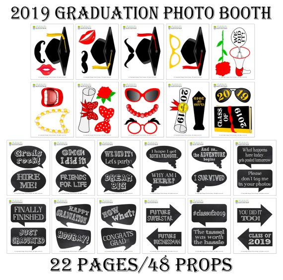 image relating to Printable Graduation Photo Booth Props titled PRINTABLE Commencement Photograph Booth Props 20192019 Commencement Props-Cl of 2019 Props-Commencement Occasion Props-Instantaneous Down load-GP19