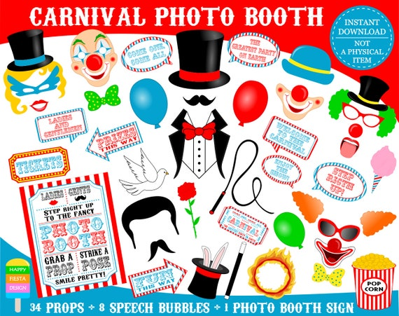 Printable Carnival Photo Booth Props Printable Circus Photo Etsy