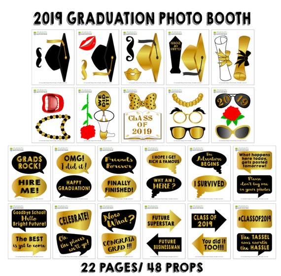 photo relating to Graduation Photo Booth Props Printable known as PRINTABLE Commencement Image Booth Props 2019Commencement 2019-Commencement Props-Cl of 2019 Props-Commencement Bash Props-Fast Down load-GP9