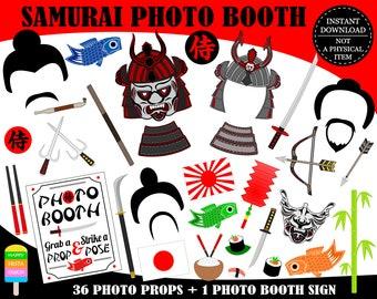PRINTABLE Samurai Photo Booth Props-Samurai Props-Japanese Warrior Props-Japan Photo Booth Props-Japan Party-Travel Props-Instant Download