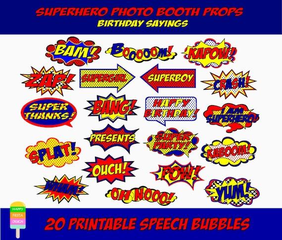 Printable Superhero Photo Booth Props Comic Book Speech Bubbles