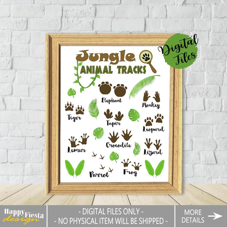 photograph regarding Printable Animal Tracks identified as Printable Animal Songs Print-Jungle Pets Poster-Printable Poster-Pets Monitor Poster-Children House Decor-Nursery Wall Artwork-Animal Footprints