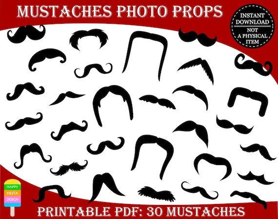 graphic about Printable Mustaches called PRINTABLE Image Booth Props-Printable Mustaches Props