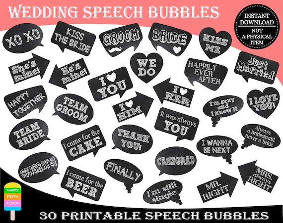photo regarding Printable Speech Bubbles called PRINTABLE Marriage Picture Booth Props-Marriage Speech Bubbles