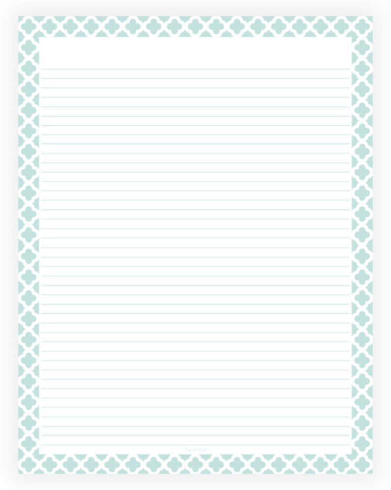 photo relating to Printable Lined Paper With Border Pdf called Editable Included Paper - Mint and White Quatrefoil - Instantaneous Down load, Electronic, Printable, Dominated, PDF