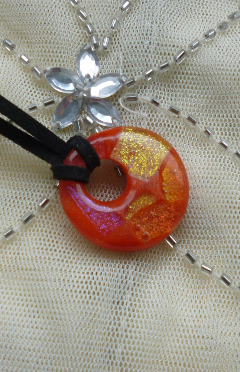 Red Necklace. Round Red Glass Pendant Red Dichroic Fused Glass Pendant