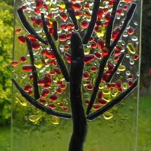 Yellow Glass Art Ripple of Color Fused Glass Suncatcher Wall Art Green Suncatcher Glass Suncatcher Blue Red
