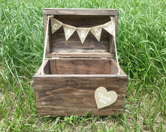 Rustic Wood Card Holder/ Wedding Card Chest/ Wedding Card Box/ Card Box/ Card Chest