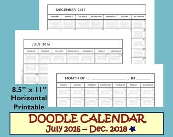 Monthly Calendar 2017-2018, Monthly Calendar Printable 2017 2018 Calendar Printable Template, Month on One Page, 8.5 x 11 Planner Download