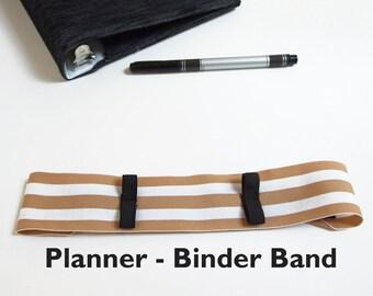Pen Holder for Planner STRIPES Planner Pen Holder, Planner Band Gold, Planner Pouch, Moleskin Journal, Moleskine Notebook, Binder Pen Holder