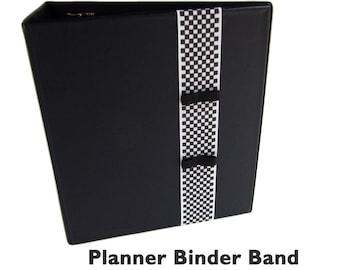 Planner Band with Pen Holder B&W CHECKERED Planner Binder Band w Pen Loop, Pen Holder for Moleskine Pen Holder, Book Band, Bujo Journal Band
