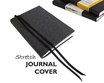 Journal Cover a5 in DARK GREY HEATHER Stretch Fabric, Large 5 x 8.25 Moleskine Notebook Cover, Large Moleskine Cover a5, Leuchtturm Cover a5