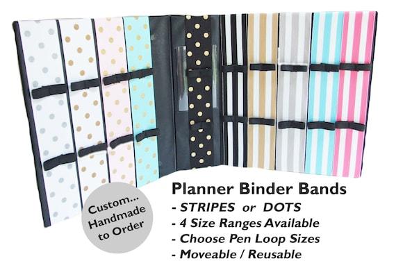 PLANNER-BINDER BAND with 2 Pen Holder in SOLID COLORS 4 Sizes Mini-Binder Moleskine Journal Composition Binder