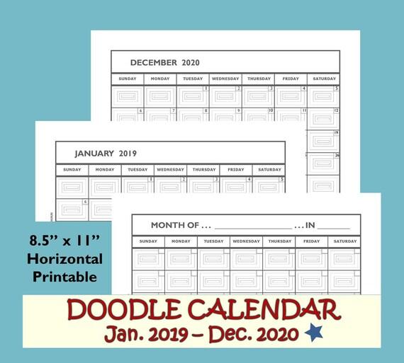 Monthly Calendar 2019 2020 Monthly Calendar Printable 2019 Etsy