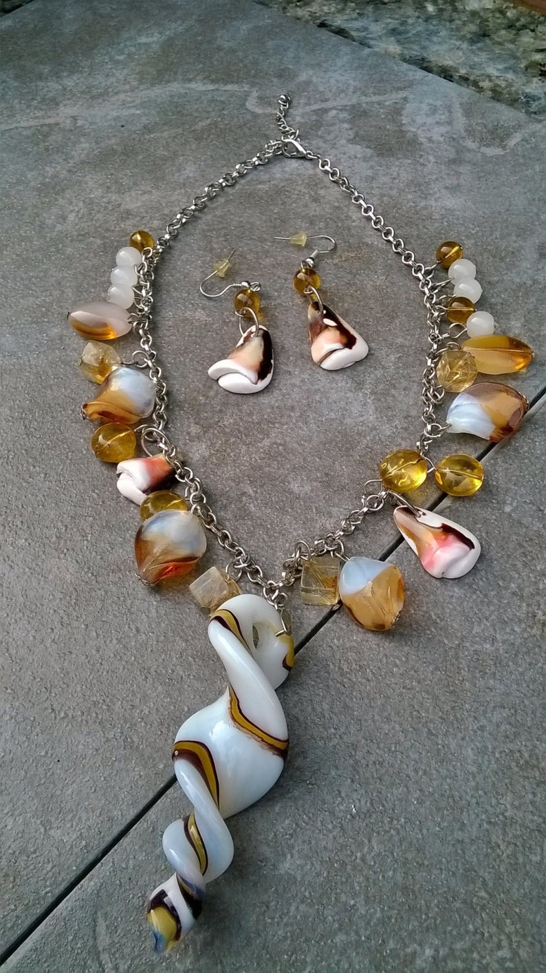 Handmade Glass and Shell Necklace Set/Donna's Ocean Shell image 0
