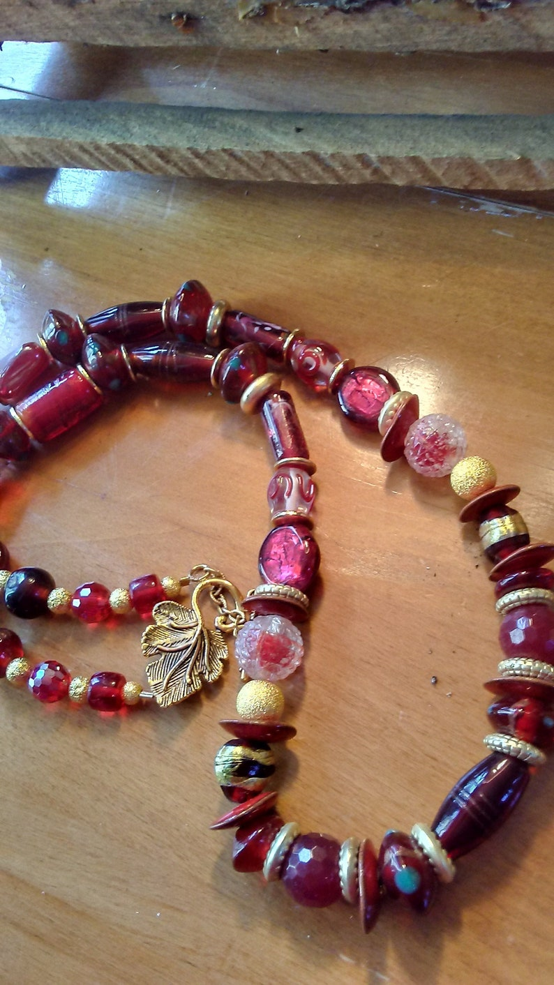 Luscious Red Glass Necklace/Ladies Red Vintage Glass image 0