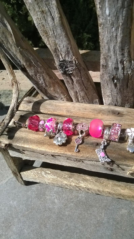 Pink Aurora Style Charm BraceletPink Aurora BraceletPink Glass BraceletPink Charm Bracelet