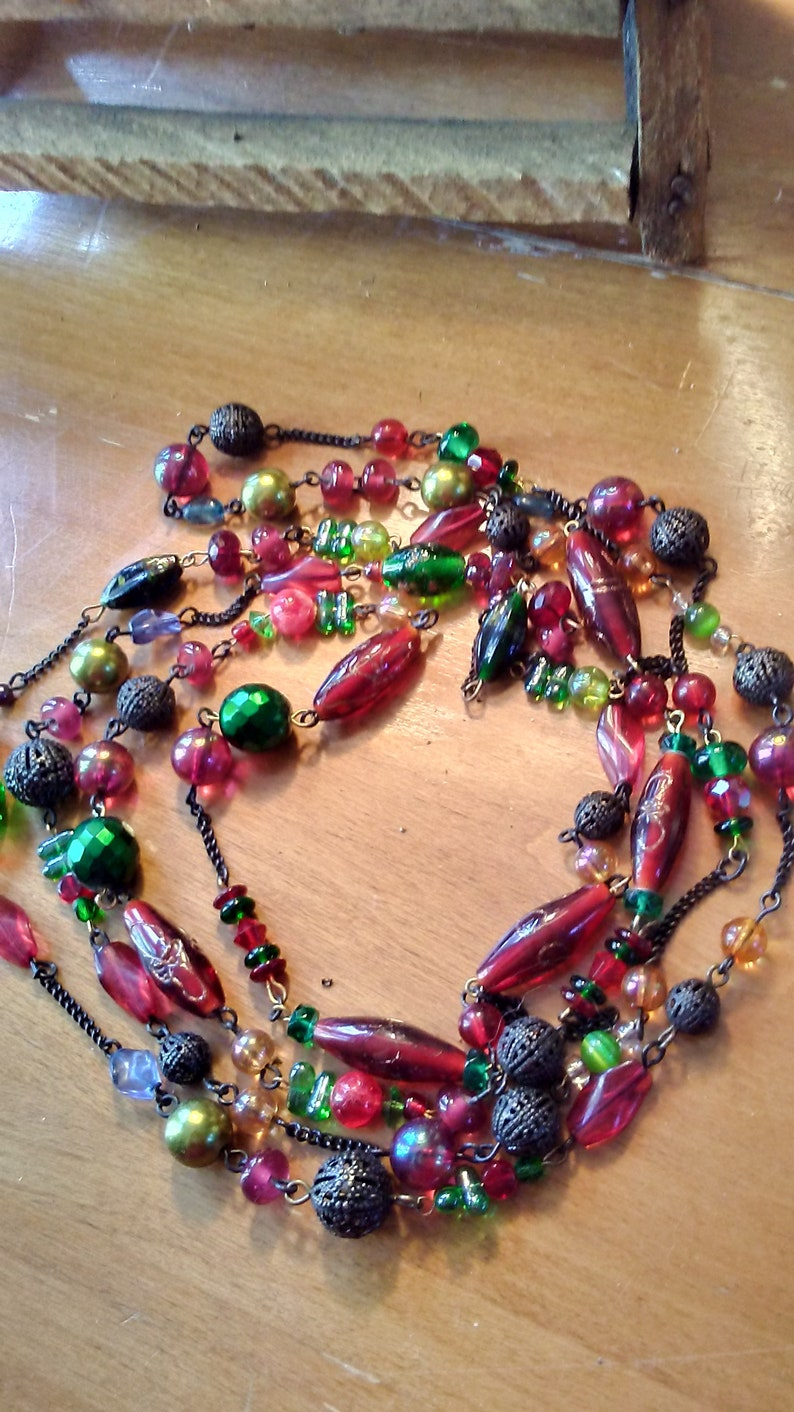 Long Red Wrap-Around Necklace/ image 0