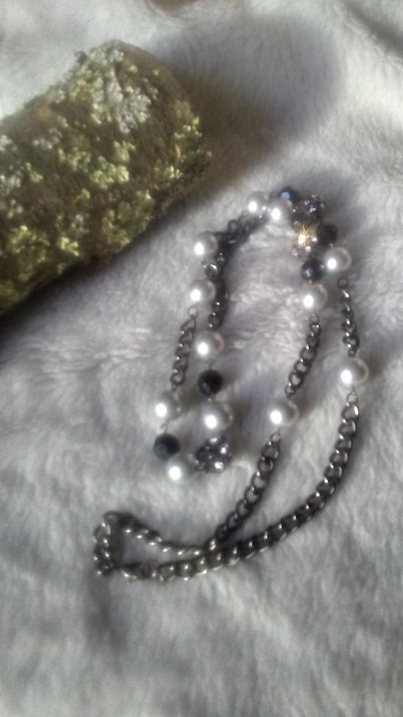 Earrings Black Rhinestones Statement Jewelry | Lightweight Recycled Black Vintage Bead Mandala Pearlescent Beige Faux Leather