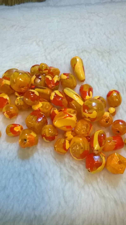 Three Orange Drips Handpainted Beads/Orange Dripped Hand image 0