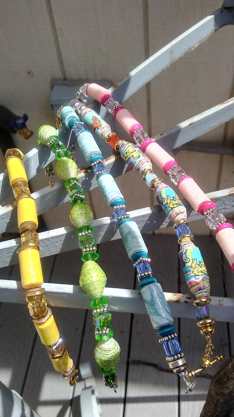 Paper & Crystal Bracelets  Light Colors/Paper and Crystal image 0