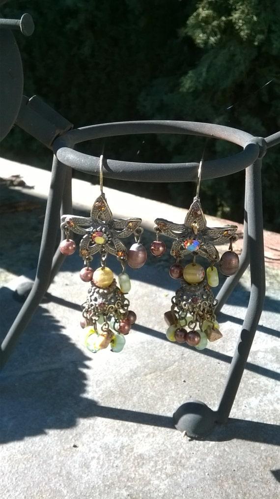 Vintage Russian Bell Flower Earrings/Vintage Bell
