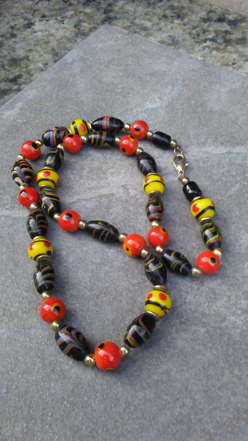 Black & Orange Vintage Necklace/Orange Black and Yellow image 0