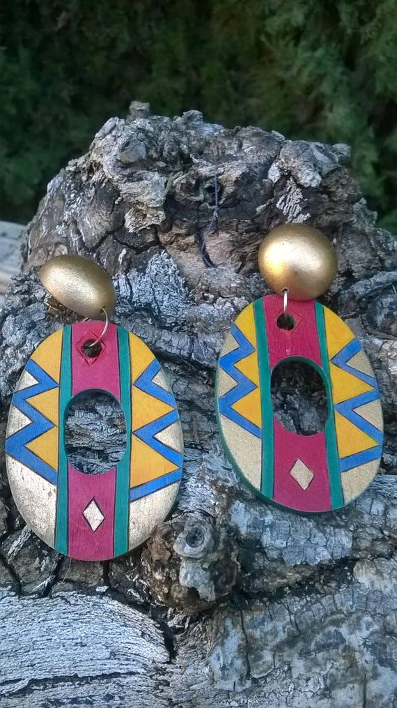 Vintage Tribal African Inspired Earrings/Tribal Af