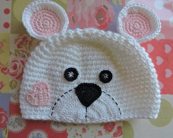 Baby hat crochet pattern. Teddy bear baby hat. Newborn crochet hat pattern