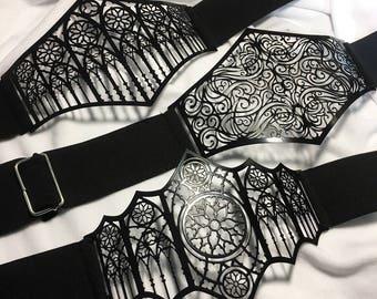 Waist belt Metal Filigree finished in gloss black paint