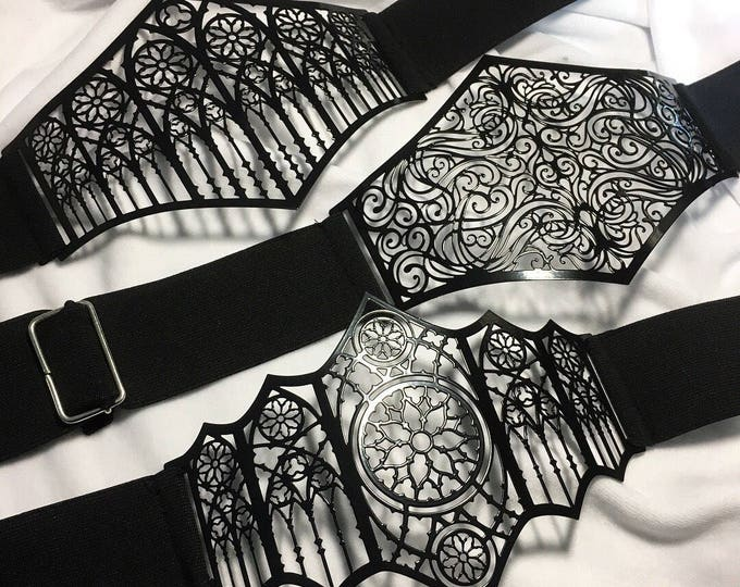 Waist belt Metal Filigree finished in gloss black paint
