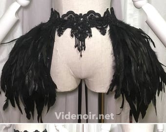 Pannier skirt for hips with lace adjustable, eyecatching , vampire look - with feathers