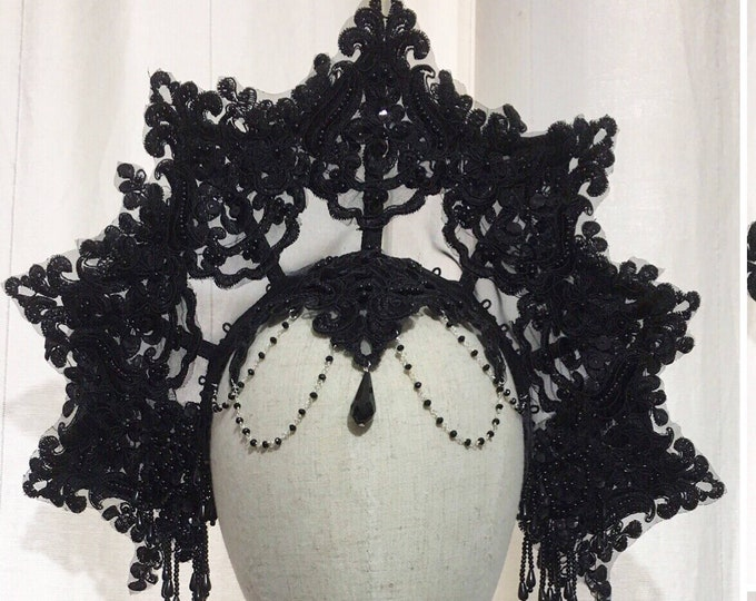 Big Mesh gothic tiara with beaded lace and beads