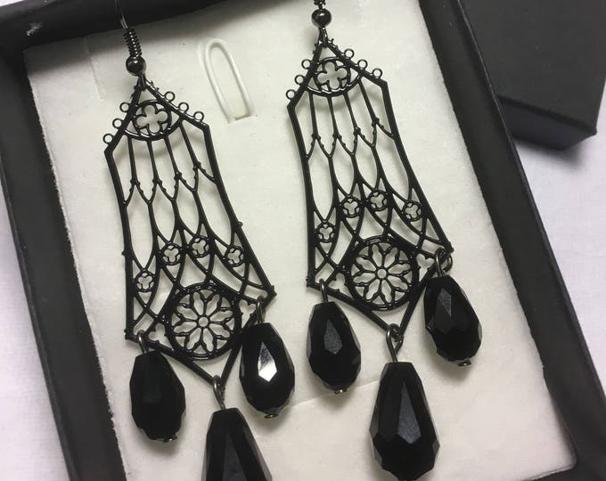 Earrings, Metal Filigree Jewelery cathedral style