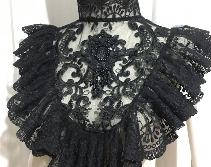 Gothic Collar with ruff laces and beaded decorations
