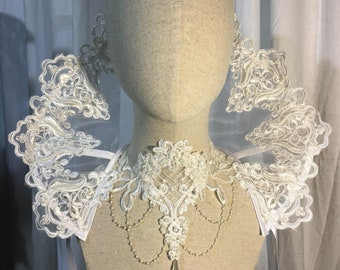 Elizabethan gothic Collar pointed lace standing alone