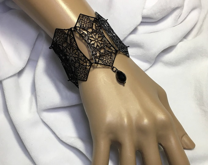 Bracelet Metal Filigree with resin bead cathedral style