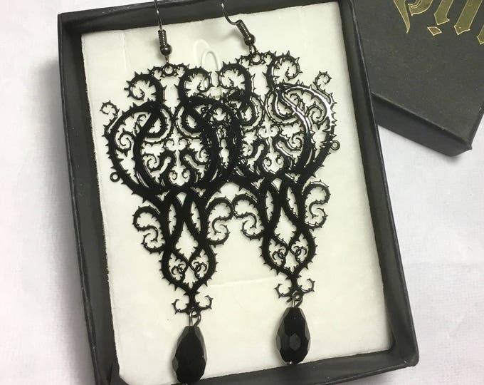 Earrings Metal Filigree Jewelery glass bead thorn style