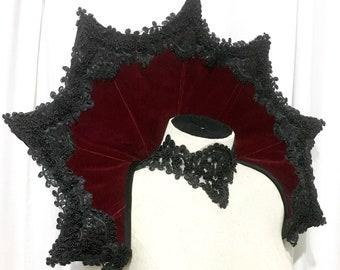 Elizabethan Collar Vampire velveted gothic shoulder piece standing alone