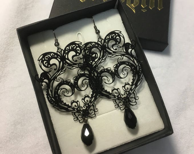 Earrings, Metal Filigree Jewelery with glass bead necklace labyrinth style