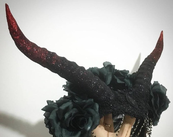 Handmade hat with hand molded Antilope horns roses lace feathers and decorations gothic